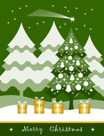 vector christmas tree with gifts and flying comet Stock Vector - 16173068