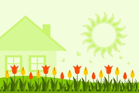 vector tulip bed in front of cottage Stock Vector - 16173065