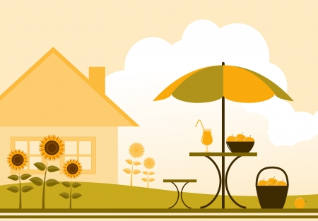 vector table and chair with umbrella in garden Stock Vector - 16173066