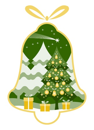 fir tree balls: vector christmas tree with gifts and flying comet in bell isolated on white background