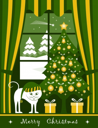 vector christmas tree with gifts and cat at window Stock Vector - 16173072