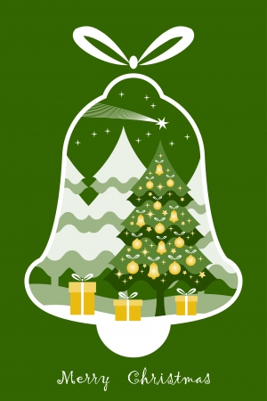 Christmas tree with gifts and flying comet in bell Stock Vector - 16308033