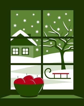 winter landscape outside the window Stock Vector - 16430620