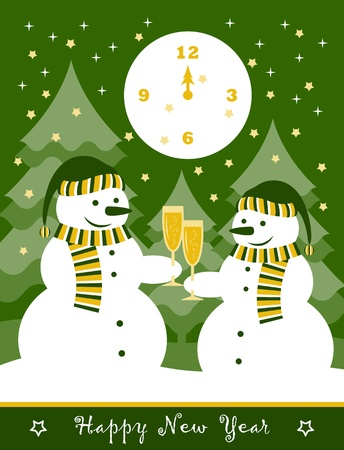 pair of snowmen with glasses of champagne Vector