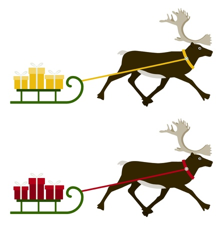 two versions of reindeer pulling sledge with gifts isolated on white background