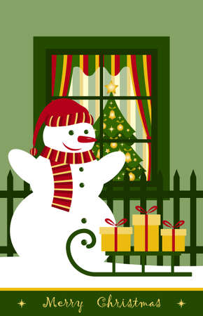 snowman and sledge with gifts in front of window Vector