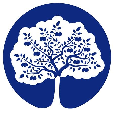 Pflaumenbaum am blauen runden isoliert