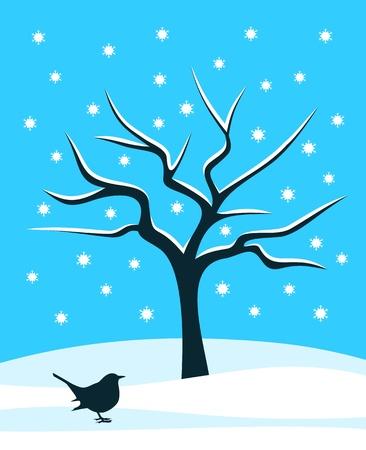 vector snowy tree and bird Stock Vector - 16529537