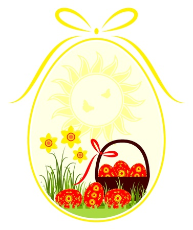 vector easter eggs and daffodils in egg isolated on white background Stock Vector - 16529538