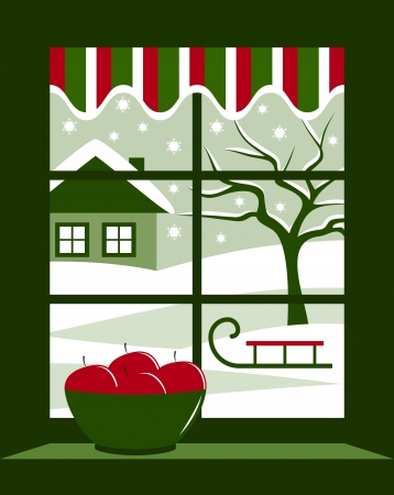 winter landscape outside the window Vector