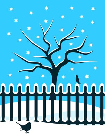 snowy tree behind picket fence and birds Vector