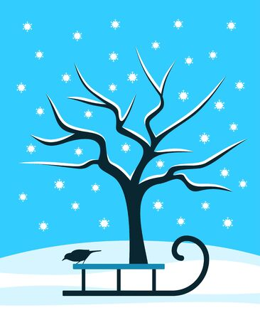 snowy tree and sledge with bird Vector