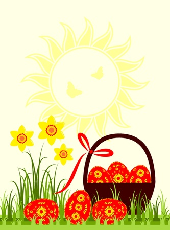 vector easter eggs in grass and daffodils Vector