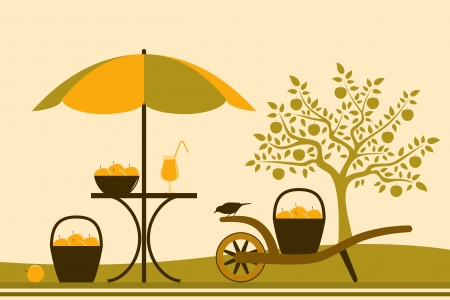 table with umbrella and hand barrow with basket of apples in apple orchard Vector
