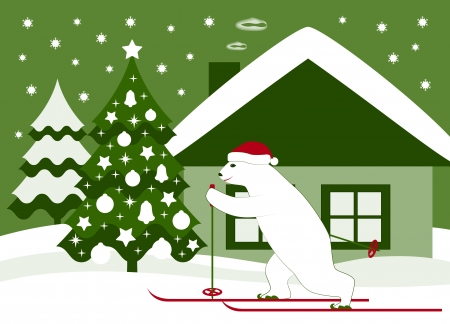 bear skier, christmas tree and cottage Stock Vector - 16790192