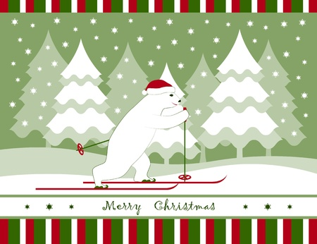vector christmas card with bear skier and snowy trees Vector