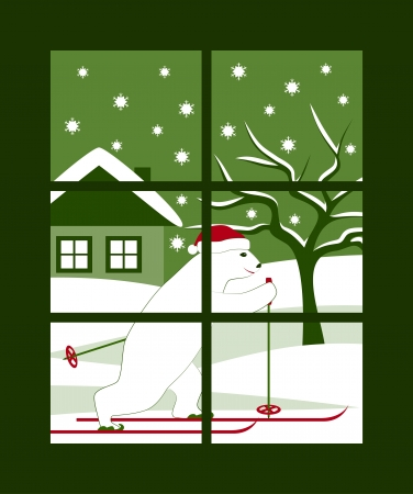 image bear skier outside window Stock Vector - 16914959