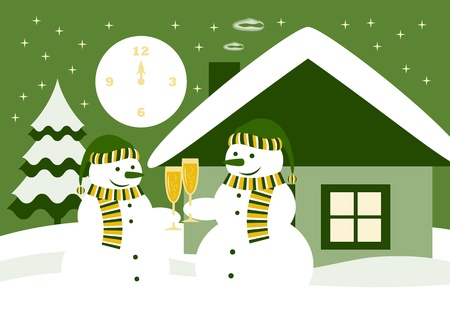 vector pair of snowmen with glasses of champagne Vector