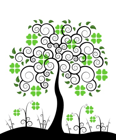 patric icon: vector St. Patricks Day tree isolated on white background