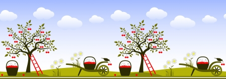 vector seamless border with cherry trees, hand barrows and baskets of cherries Vector