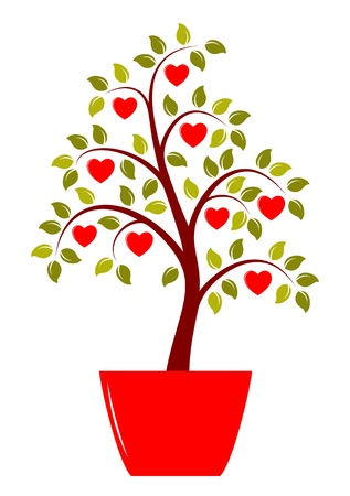 heart tree in pot isolated on white background Stock Vector - 17356710