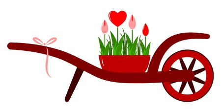 vector wheel barrow and heart flowers isolated on white background Vector