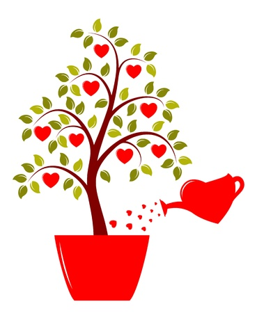 watering can: vector heart tree in pot and heart watering can isolated on white background