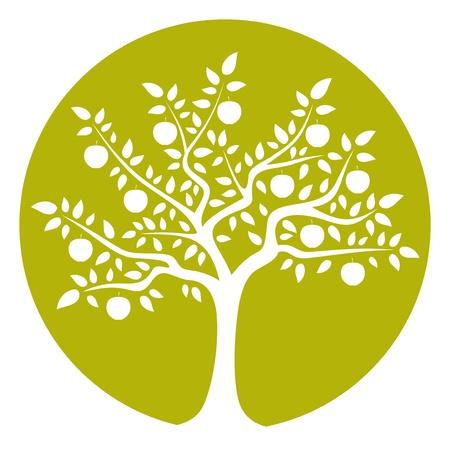 albero di mele: vettore albero di mele isolato su tondo verde Vettoriali