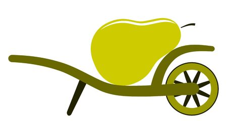 vector wheel barrow and pear isolated on white background Stock Vector - 17613418