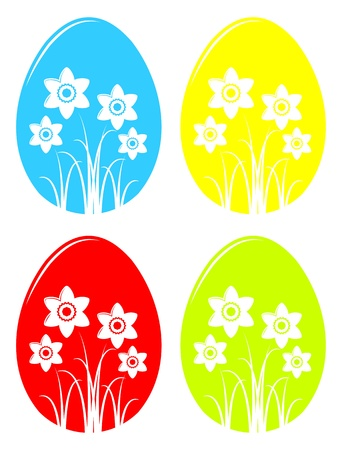collection of vector easter eggs with daffodil decor isolated on white background Stock Vector - 17613421