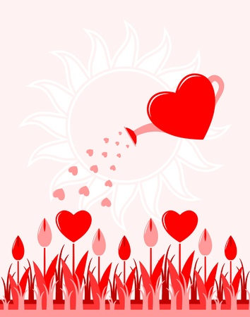 romance bed: vector heart flowers and heart watering can Illustration