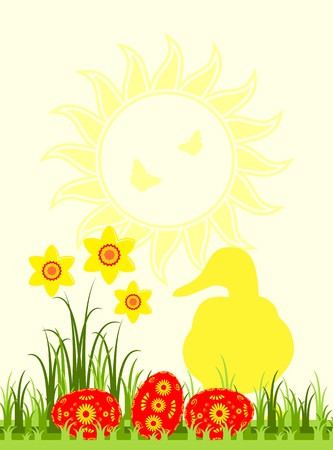 easter eggs in grass, daffodils and duck Vector