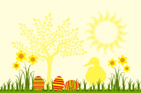 vector easter eggs in grass, daffodils and duck Vector
