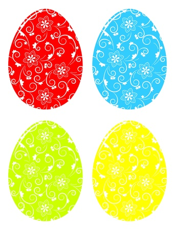 collection of vector easter eggs with floral decor isolated on white background Stock Vector - 18134049