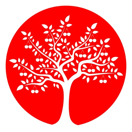 drupe: cherry tree isolated on red round