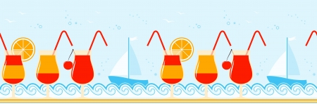 seamless border with cocktails on the beach Vector