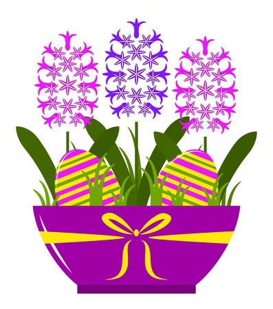 hyacinths and easter eggs in pot isolated on white background Vector