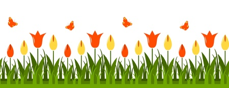 seamless vector tulips border Vector