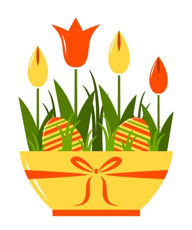 clump: vector tulips and easter eggs in pot isolated on white background Illustration