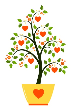 vector flowering tree with hearts in pot isolated on white background Vector