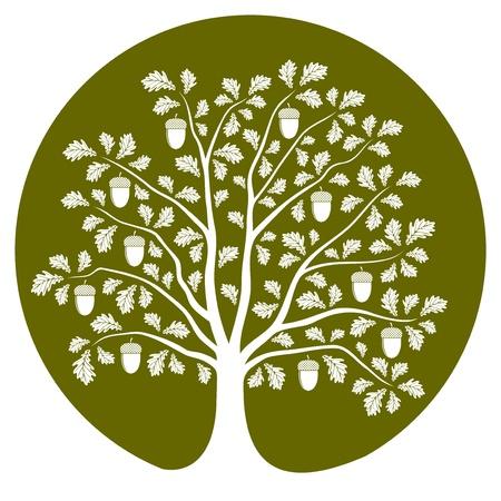 vector oak tree isolated on green round