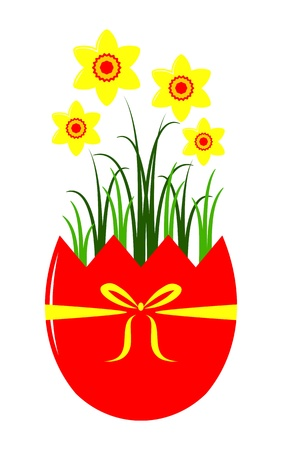 vector daffodils in egg pot isolated on white background Vector
