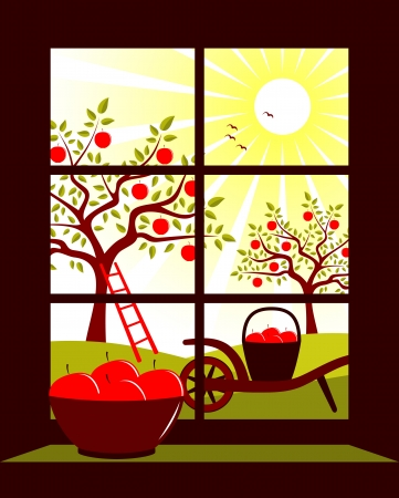 apple orchard outside the window Vector