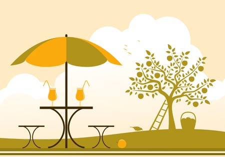 table with umbrella in apple orchard Vector