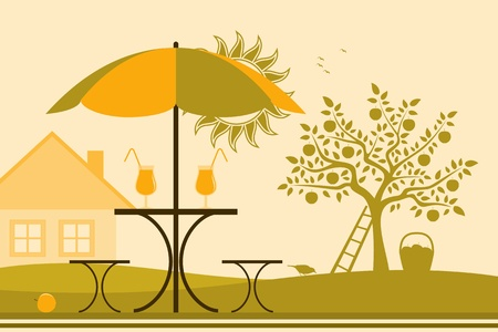 vector table and chairs with umbrella in garden Vector