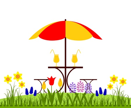 spring bed: vector bed of spring flowers and table with umbrella isolated on white background Illustration