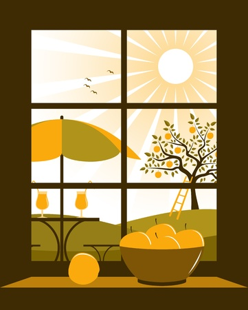 vector table and chairs with umbrella in garden outside the window Stock Vector - 19380275