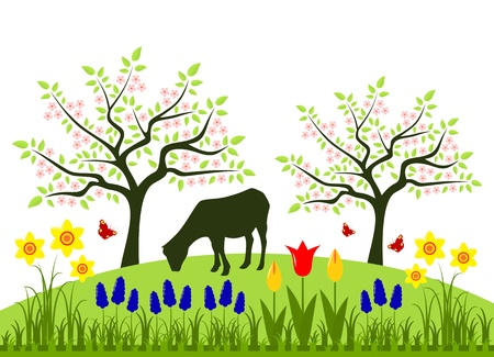 spring bed: bed of spring flowers, flowering trees and grazing goat Illustration