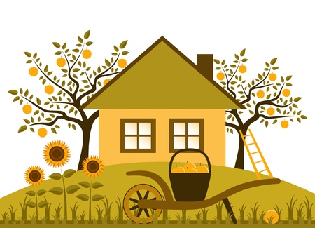 hand barrow with basket of apples and sunflowers in garden Vector