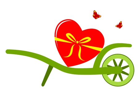 vector wheel barrow and heart isolated on white background Vector